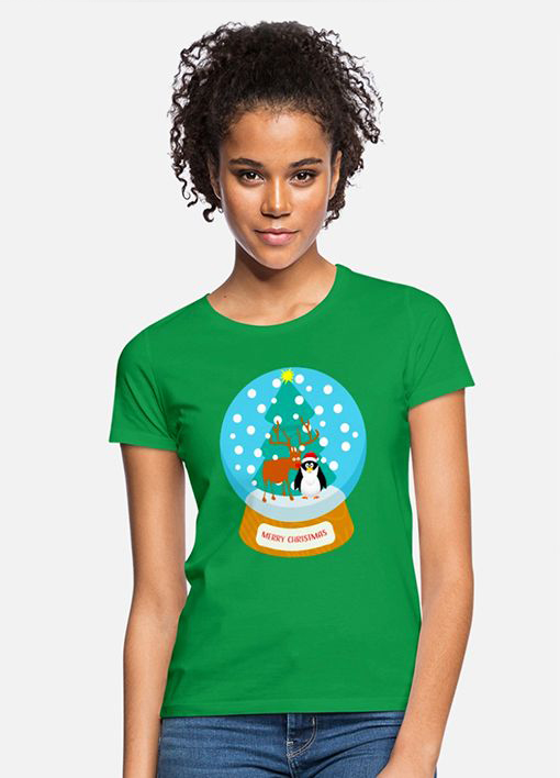 T-Shirt Schneekugel mit Pinguine Weihnachts-Motiv